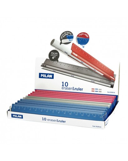 MILAN 352910 15cm. ERASER&RULER BOX OF 10