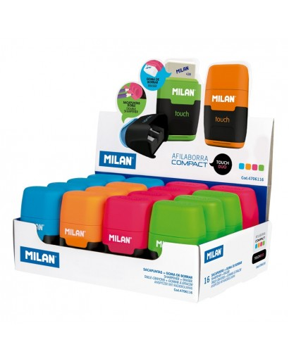 MILAN 4706116 COMPACT TOUCH DUO SHARPENERS&ERASERS BOX OF 16