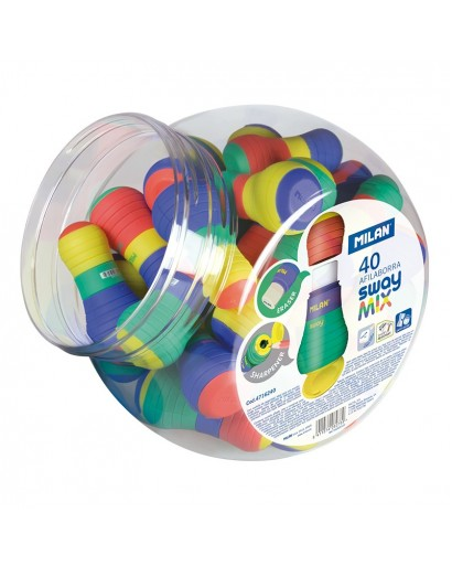 MILAN 4716240 SWAY MIX SHARPENERS&ERASERS CAN OF 40