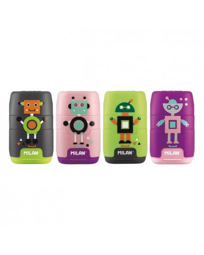 MILAN 4722116 COMPACT HAPPY BOTS SHARPENERS&ERASERS BOX OF 16