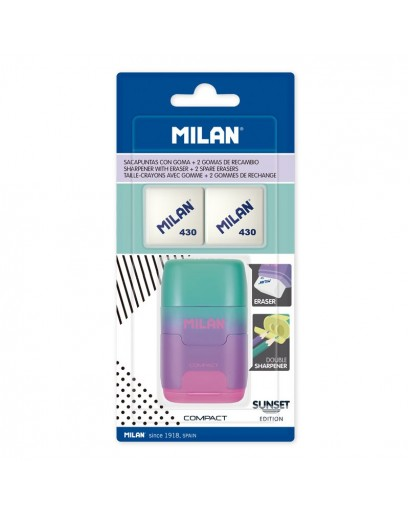 MILAN BYM10451 BLISTER PACK 1 SHARPENERASER COMPACT SUNSET LILAC-PINK+2 SPARE ERASERS