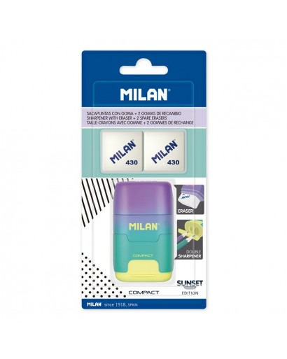 MILAN BYM10454 BLISTER PACK 1 SHARPENERASER COMPACT SUNSET TURQUOISE-YELLOW+2 SPARE ERASERS