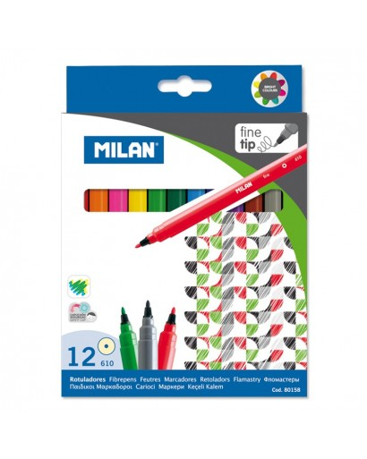 MILAN 80158 FINE FIBREPENS BOX OF 12