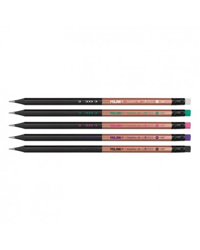 MILAN 0714148 COPPER HB HEXAGONAL PENCIL WITH ERASER CAN OF 48