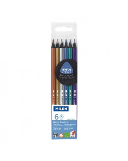 MILAN 7102306 BLACK WOOD METALLIC COLOUR PENCILS BOX OF 6