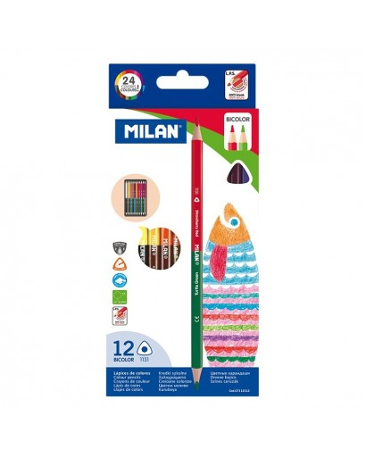 MILAN 7112312 TRIANGULAR DOUBLE-ENDED COLOUR PENCILS BOX OF 12