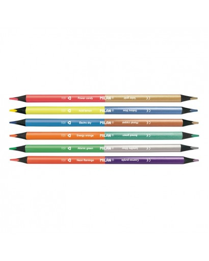 MILAN 07123306 DOUBLE-ENDED PENCILS BOX OF 6