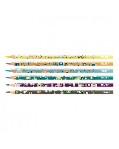 MILAN 072331506HB HAPPY BOTS COLOUR PENCILS BOX OF 6