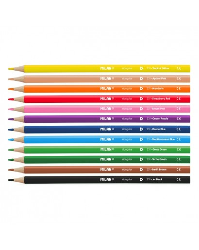 MILAN 0728312 TRIANGULAR COLOUR PENCILS BOX OF 12