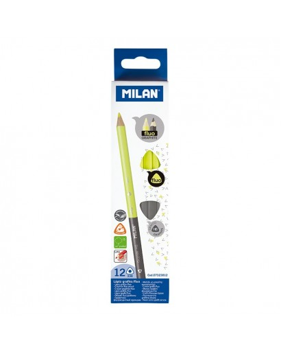 MILAN 7323812 BICOLOUR FLUO-GRAPHITE PENCILS BOX OF 12