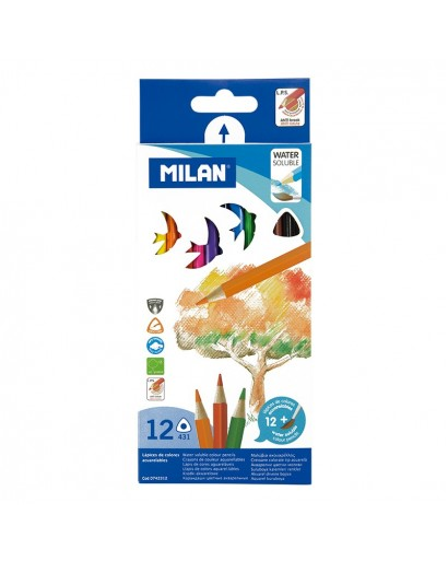 MILAN 0742312 WATERCOLOUR COLOUR PENCILS BOX OF 12