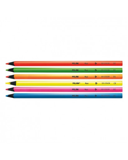 MILAN 752306 BLACK WOOD FLUO COLOUR PENCILS BOX OF 6