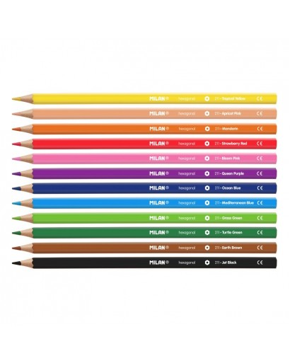 MILAN 80012 HEXAGONAL  COLOURS PENCILS BOX 12