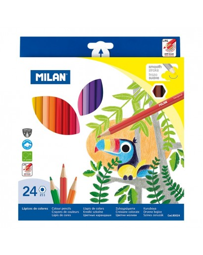 MILAN 80024 HEXAGONAL COLOUR PENCILS BOX OF 24