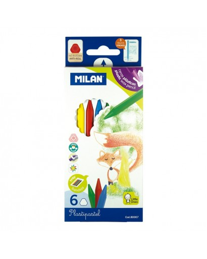 MILAN 80007 PLASTIPASTEL PENCILS BOX OF 6