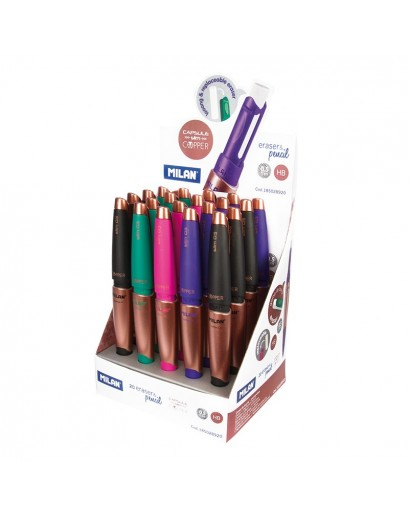 MILAN 185032920 CAPSULE COPPER ERASER&PENCILS 0.5MM BOX OF 20